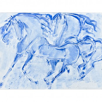 Cavalli, painting on canvas by Lorenzo Cascio