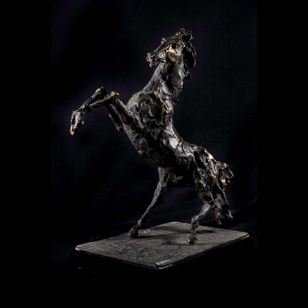 Cavallo rampante, bronze sculpture by Lorenzo Cascio