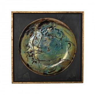 Viso di donna, ceramic plate by Lorenzo Cascio