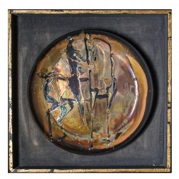 Cavaliere e Cavallo piatto in ceramica Lorenzo Cascio