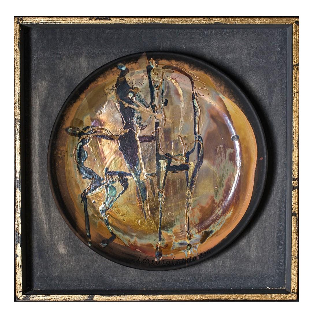 Ceramic plate entitle Cavaliere e Cavallo, by Lorenzo Cascio Cavallo