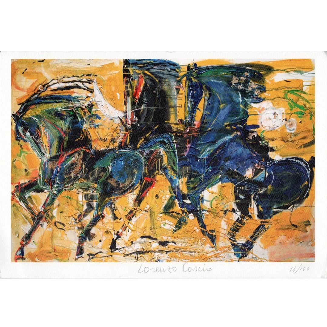 Cavalli litografia di Lorenzo cascio