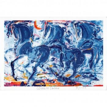 Blue Cavalli litograph by Lorenzo Cascio
